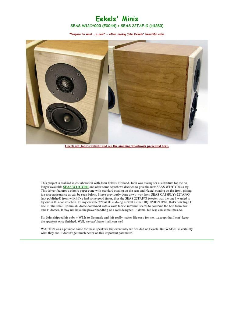 Eekels' Minis   Loudspeaker   Signal Processing
