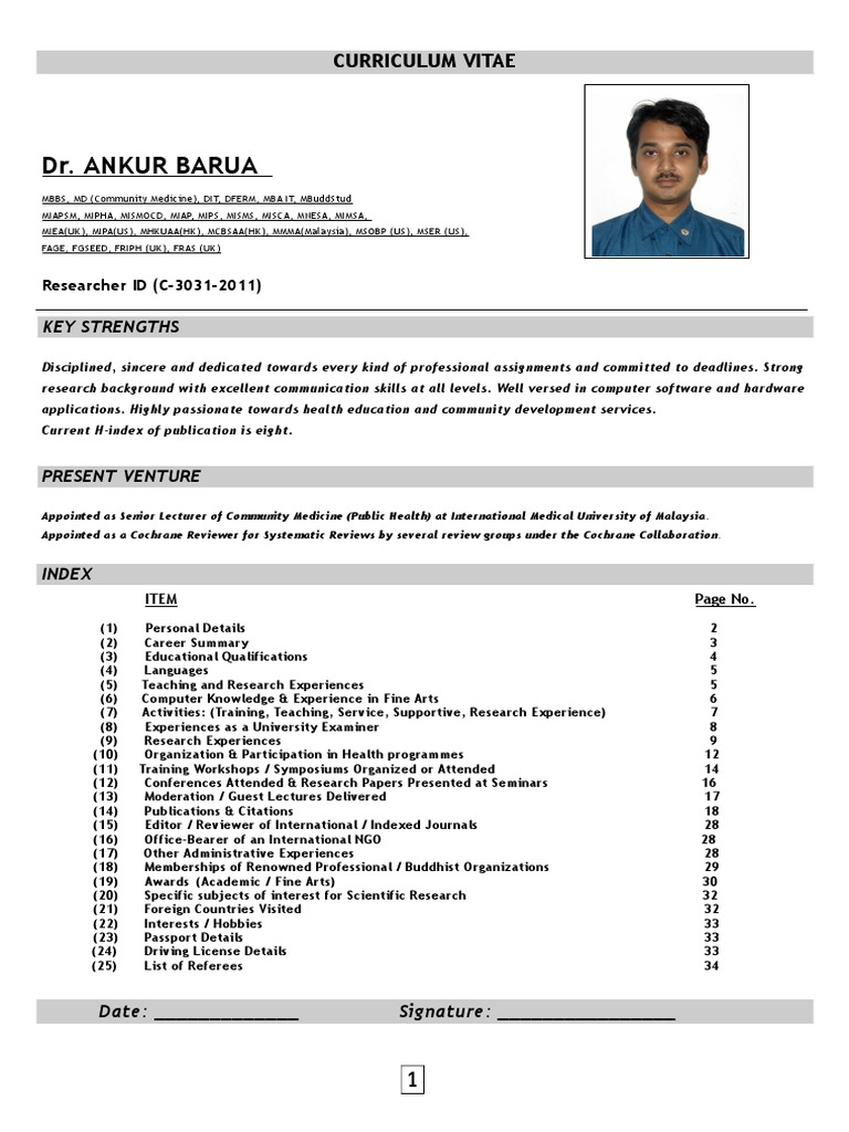 Curriculum Vitae Of Dr Ankur Barua Academic Degree
