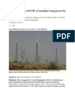 India to Witness 89 GW of Installed Wind Power by 2020