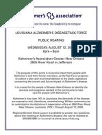 Louisiana Alzheimer's Disease Task Force Public Hearing Wednesday, August 12,