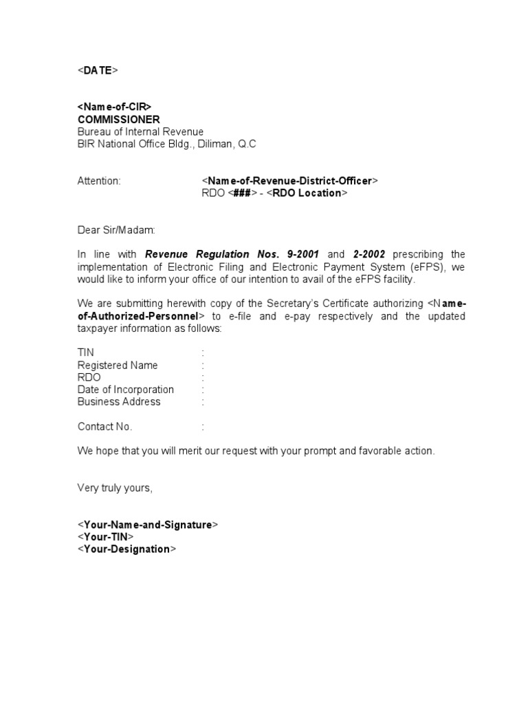 Sample Template Efps Letter Of Intent And Secretary Certificate For