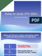 Notes to Study ETH 305V