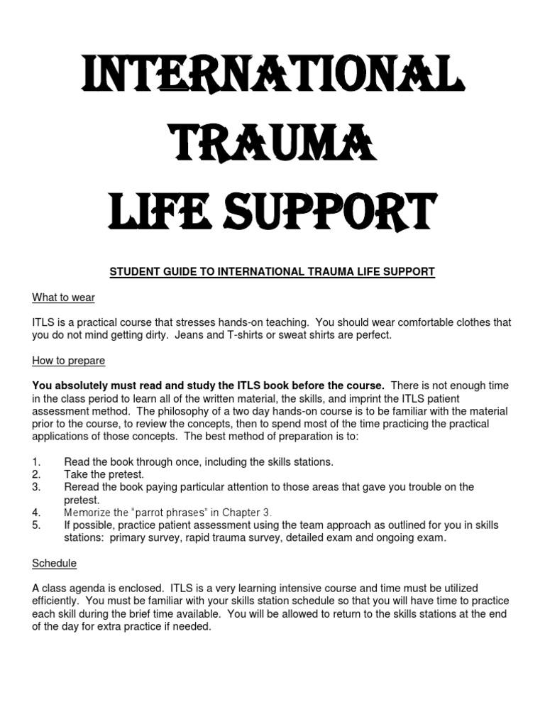 Guide From International Trauma Life Support Major Trauma Thorax