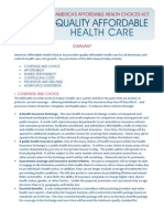 House Bill- America's Affordable Health Choices Act summary