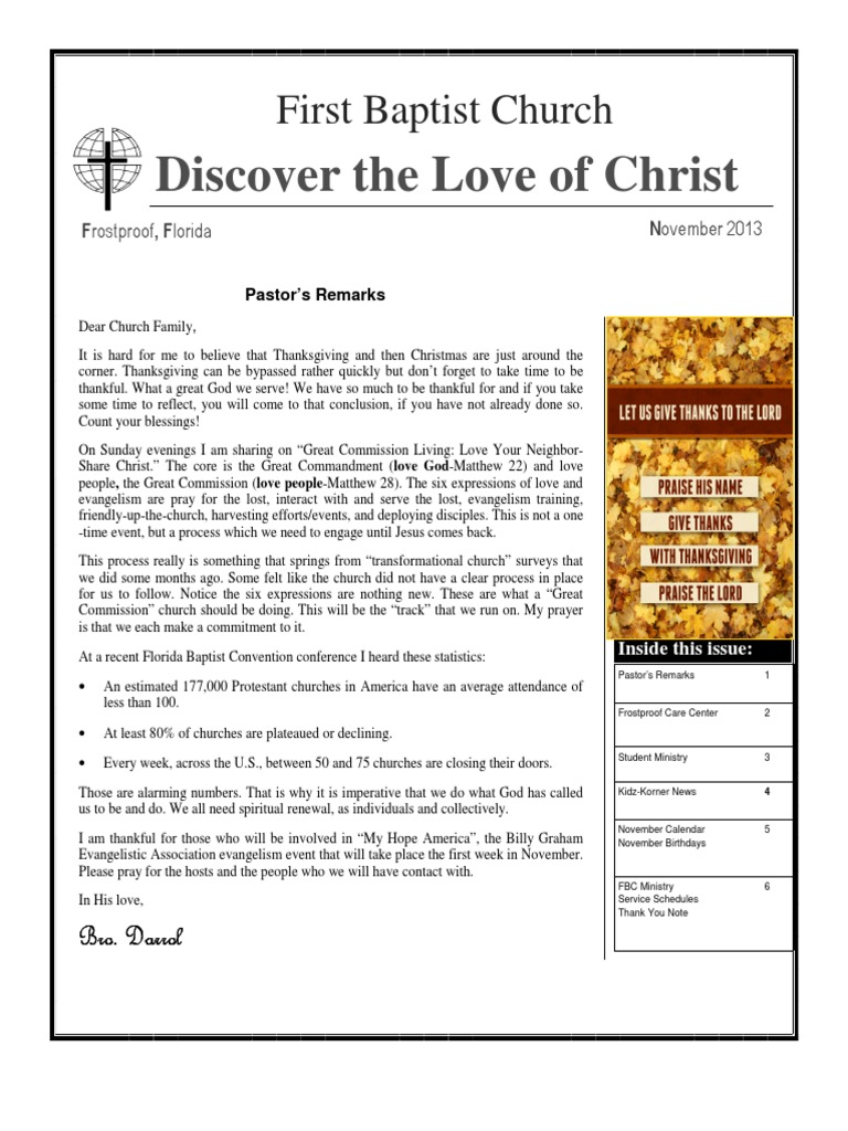 First Baptist Church of Frostproof Newsletter | Great Commission