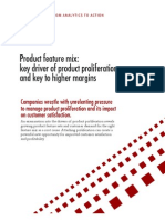 Product Feature Mix - Key Driver of Product Proliferation and Key to Higher Margins
