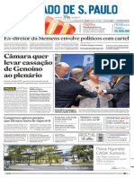 Capa do jornal O Estado de S.Paulo de 21//11/13