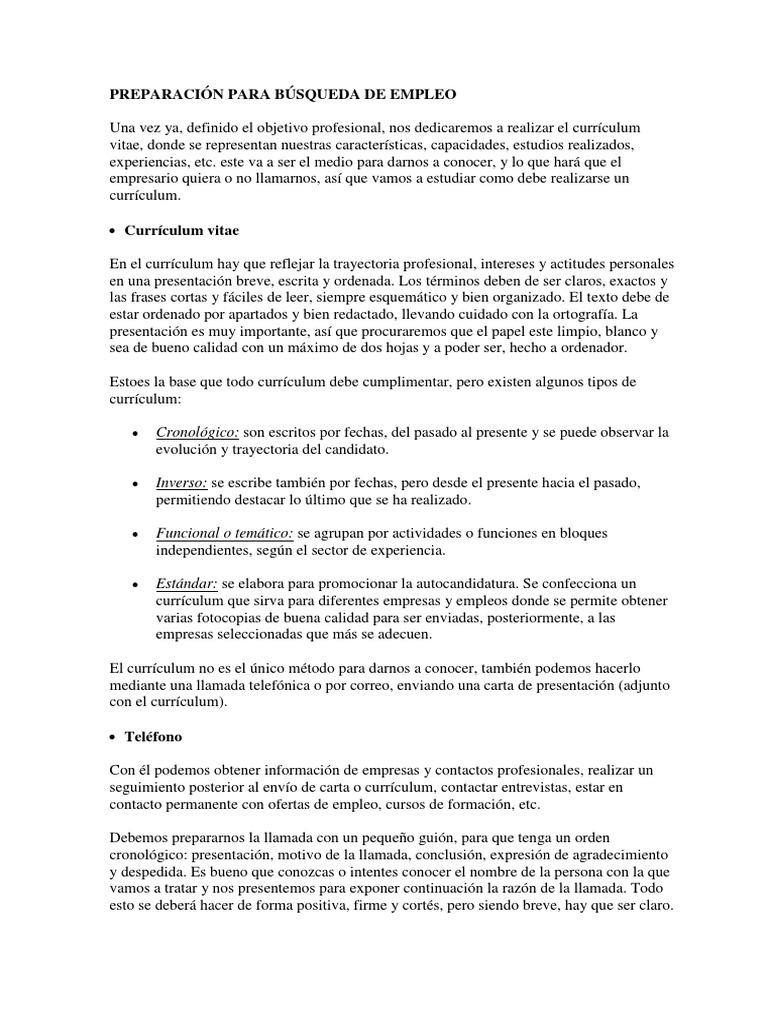 PREPARACIÓN PARA BÚSQUEDA DE EMPLEO