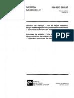 NM ISO 0565 - ABNT NBR - Peneiras de Ensaio - Tela de Tecido Metalico Chapa Metalica Perfurada E Lamina Eletroformada - Tamanhos Nominais de Abertura