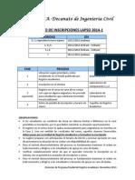Proceso de Incripciones 20141
