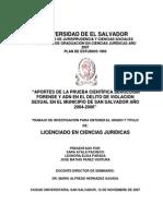 APORTES DE LA PRUEBA CIENTÍFICA SEROLOGIA FORENSE Y ADN EN EL DELITO DE VIOLACION SEXUAL EN EL MUNICIPIO DE SAN SALVADOR AÑO 2004-2006.pdf