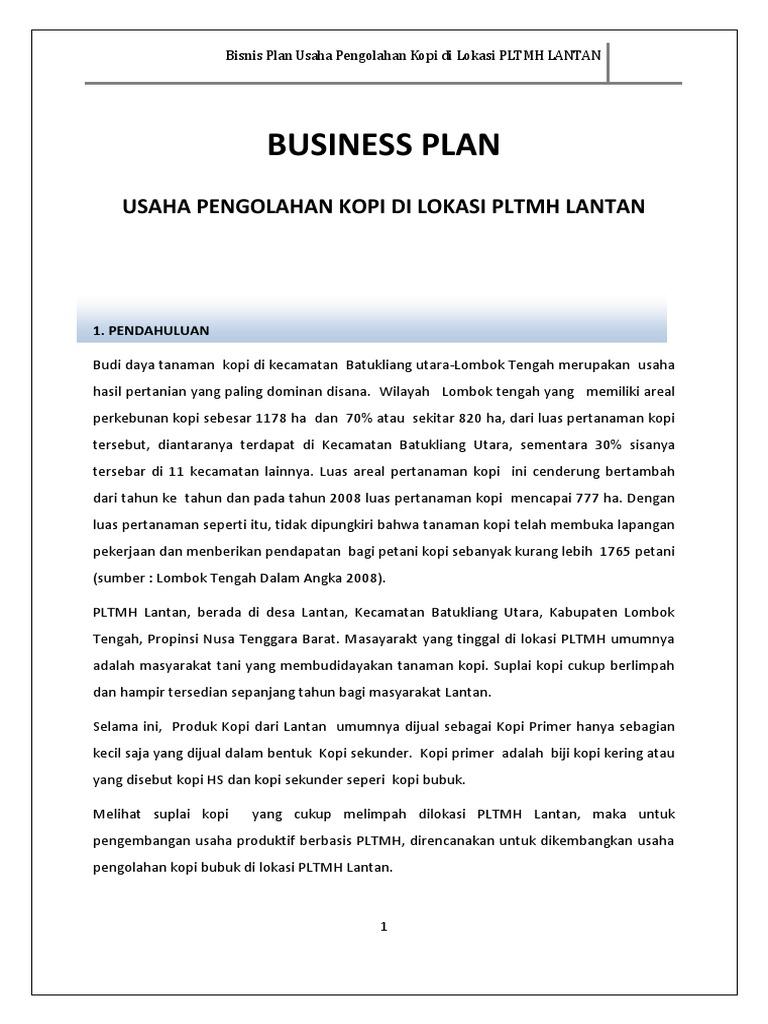 Bisnis Plan Usaha Kopi