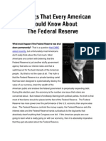 10 ThingsThat Every American Should Know About The Federal Reserve