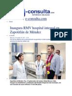 20-11-2013 e-consulta.com  - Inaugura RMV hospital integral en Zapotitlán de Méndez