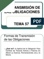 TEMA 57.LA TRANSMISIÓN DE LAS OBLIGACIONES