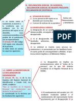 DESAPARICION,  DECLARACION JUDICIAL  DE AUSENCIA,  FIN DE LA PERSONA,  DECLARACION JUDICIAL DE MUERTE PRESUNTA Y DECLARACION DE EXISTENCIA