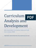 curriculum analysis paper - 21st century skills enhance a math curriculum final