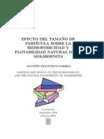 Efecto del Tamaño de Partícula sobre la Hidrofobicidad y Flotabilidad Natural de la Molibdenita