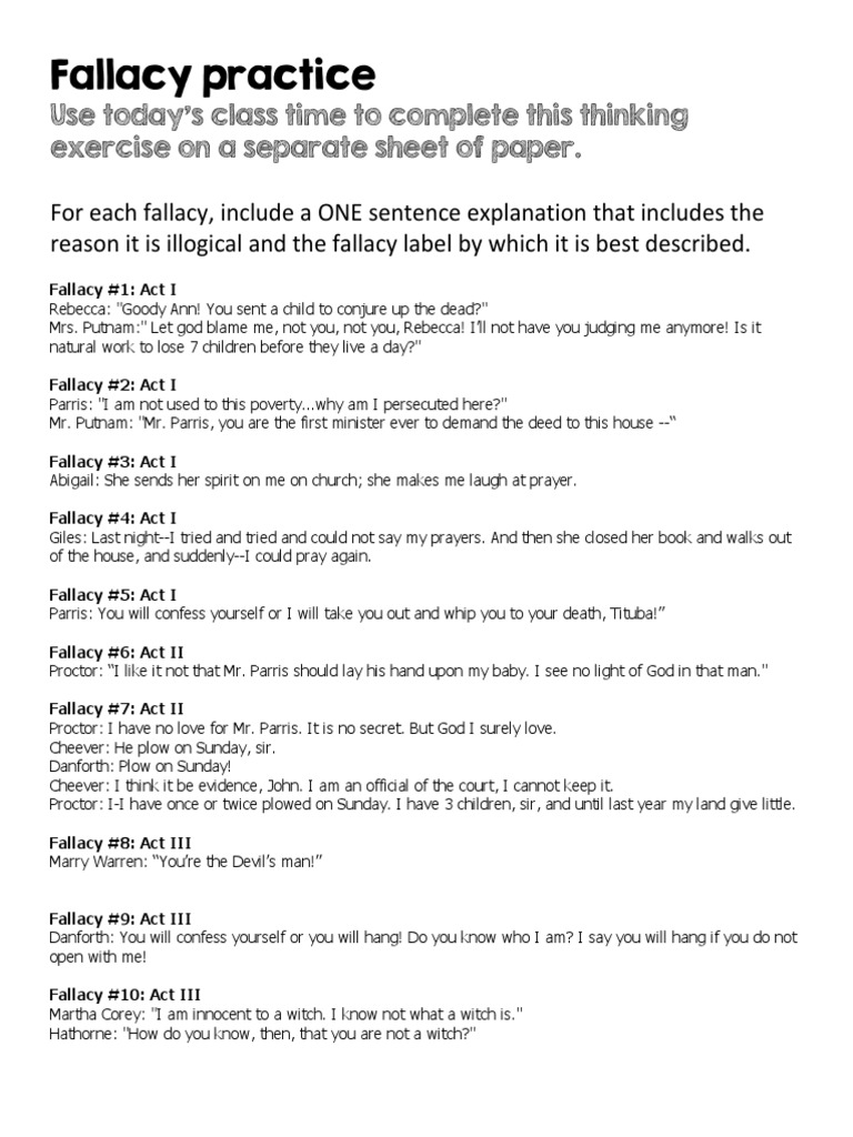 The Best and Worst Topics for Logical fallacies essay – Fallacies Worksheet