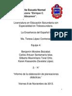 Infome del desarrollo de la planeación. Español.
