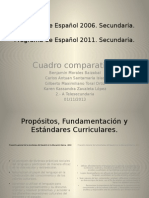 Sesión 2. Cuadro comparativo. Programa de Español 2006 y 2011