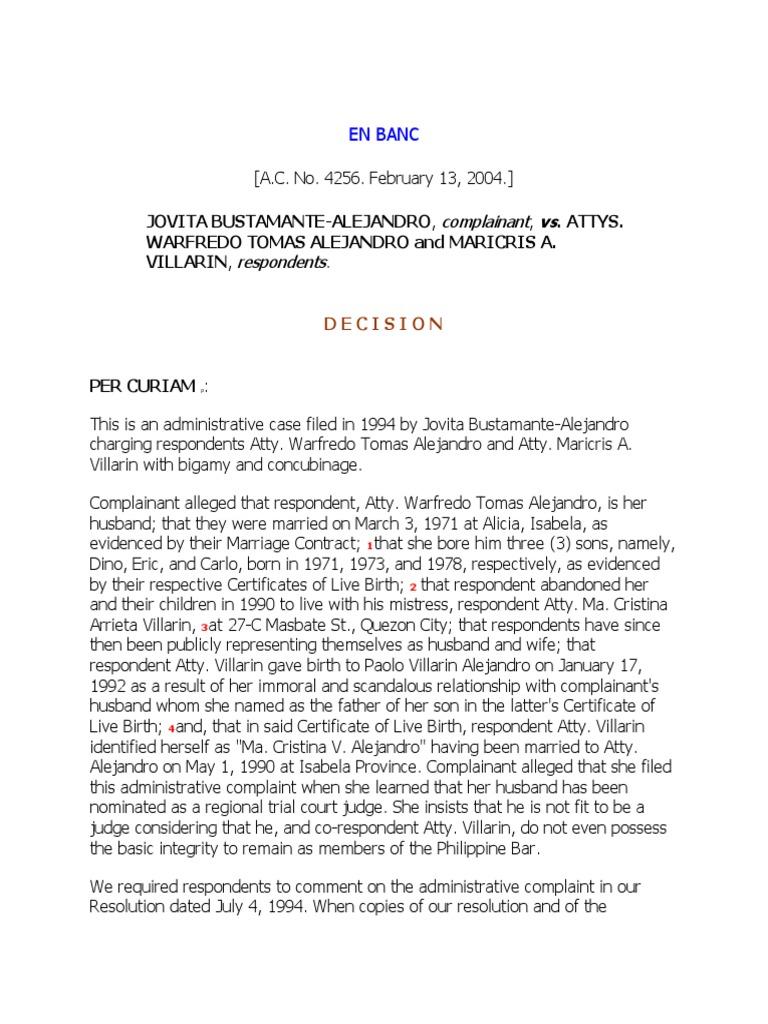 Alejandro v. Alejandro, Adm. Case No. 4256, Feb 13, 2004 ...