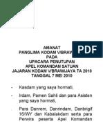 Amanat Tutup Apel Dansat Tahun 2010 (070510). Panglima