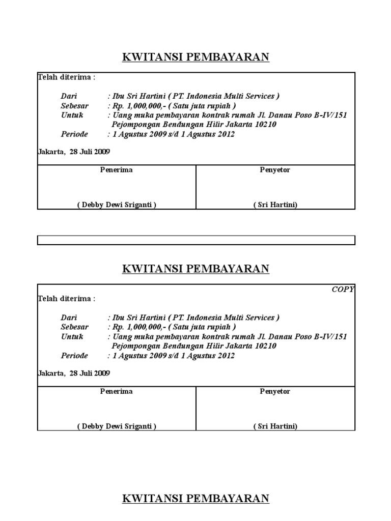 Contoh Kwitansi Perjanjian Kontrak Rumah Losos