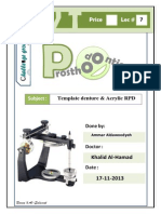 Prostho VI - Lec 7 - Template Denture & Acrylic RPD