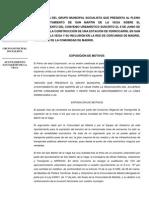 Propuesta sobre el incumplimiento del convenio para la construcción de una estación de ferrocarril