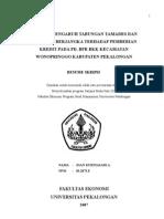 Analisis Pengaruh Tabungan Dan Simpanan Berjangka Terhadap Pemberian Kredit Pada PD. BPR BKK Kecamatan go Kabupaten Pekalongan