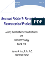 FDA-research Related to Formulation & Pharmaceutical Product Stability