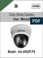 Avtron Dome CCTV Camera USer Manual Aa 4503 Fs Manual