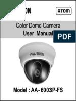 Avtron Dome CCTV Camera Aa 6003 Fs Manual