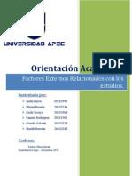 Orinetacion Academica - Factores Externos Relacionados Con Los Estudios