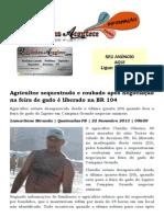 Agricultor sequestrado e roubado após negociação na feira de gado é liberado na BR 104