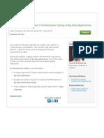 Webinar- Keys to Success in Performance Testing of Big Data Applications