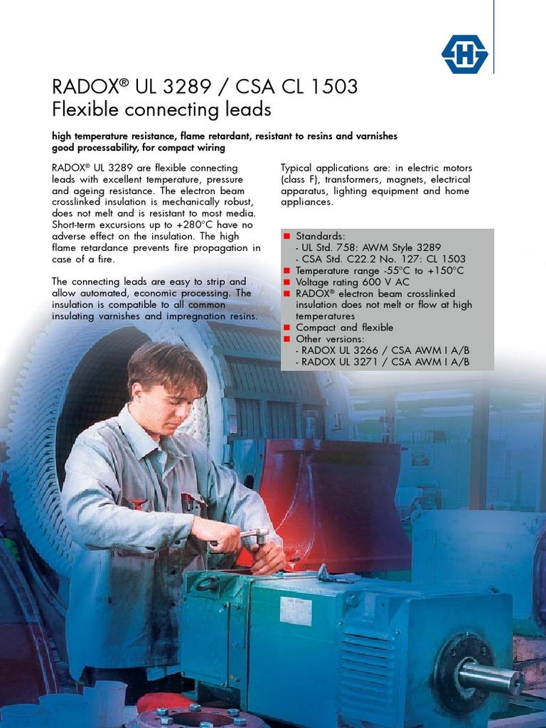 Radox AWG PDF | Insulator (Electricity) | Electrical Wiring