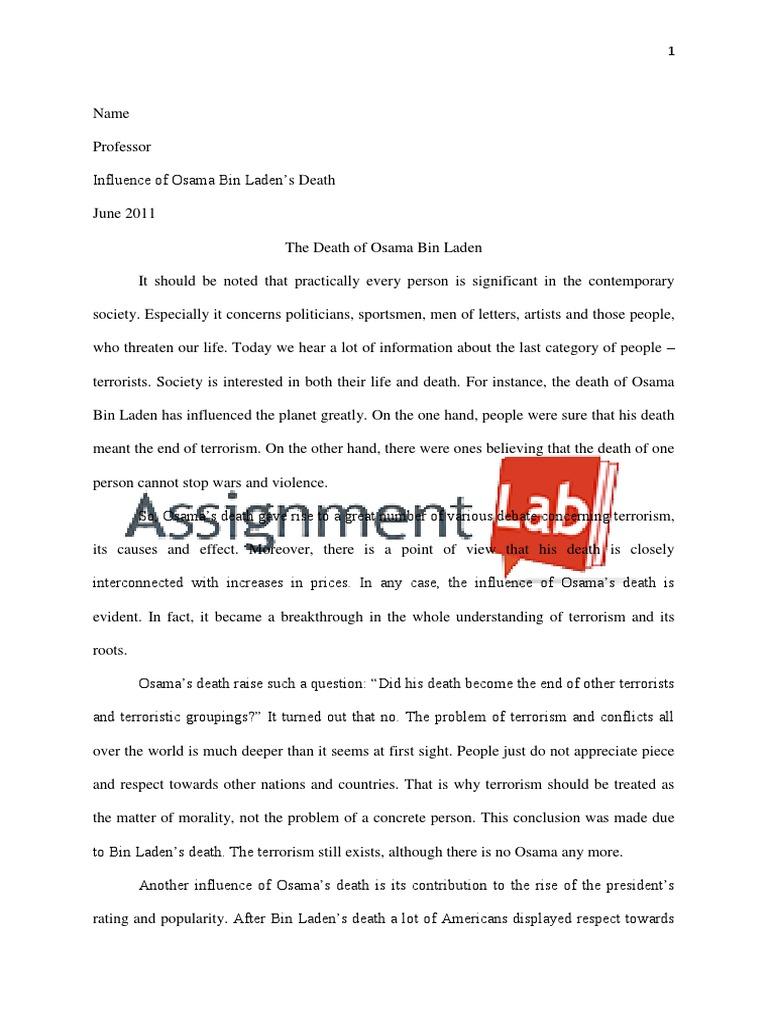 Osama bin laden essay