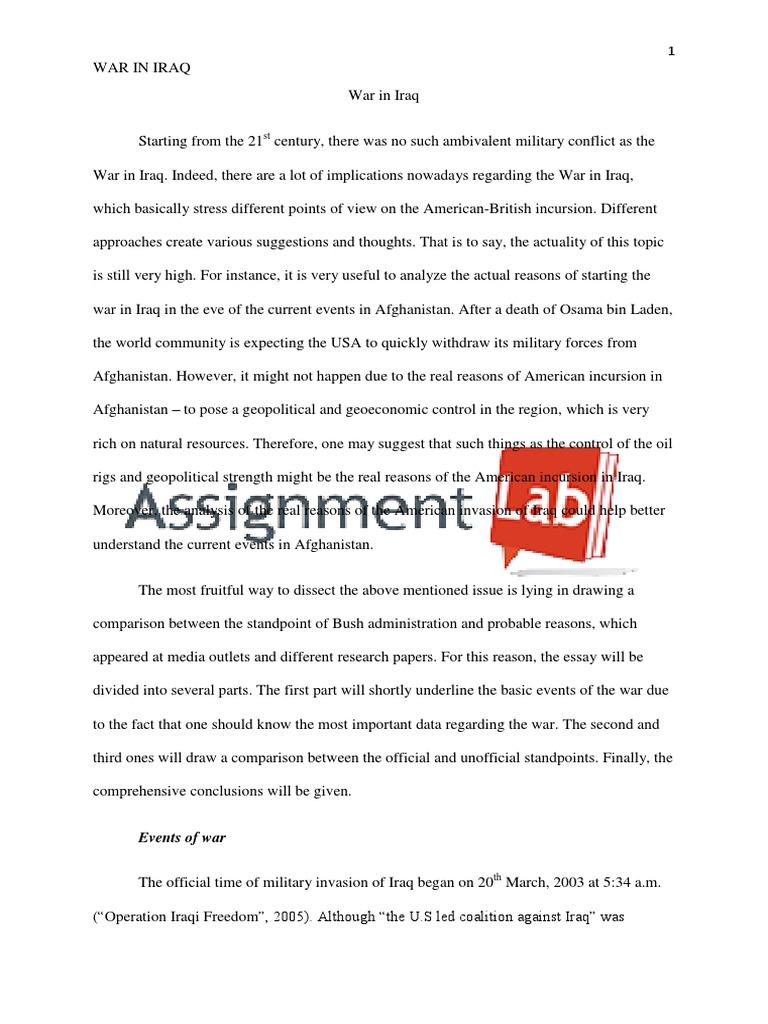 war against iraq essay