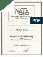 Cohen NATA certificate