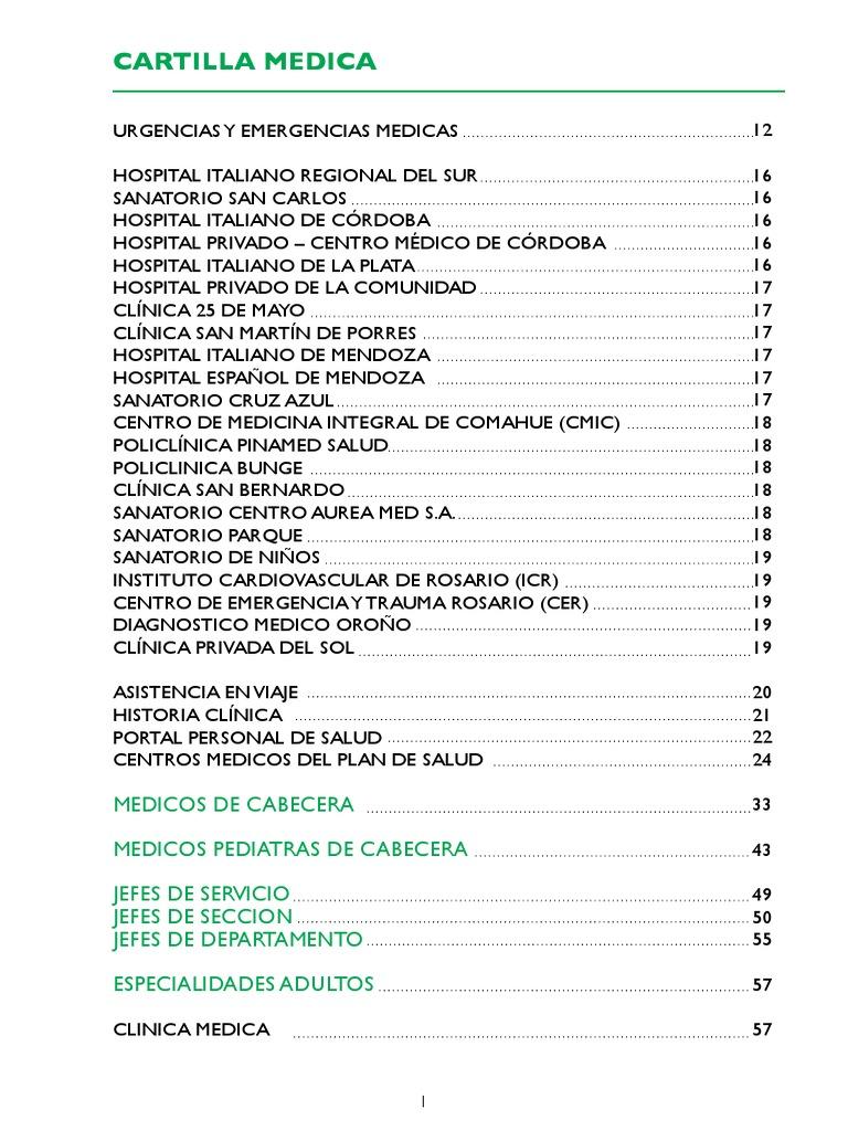 Cartilla Plan de Salud - Hospital Italiano   Historial médico   Registro  Electrónico de Salud