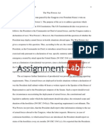 The War Powers Act/ Essay / Paper by AssignmentLab.com