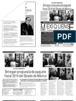 Versión impresa del periódico El mexiquense 22 noviembre 2013