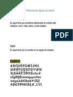 Diferentes Tipos de Texto