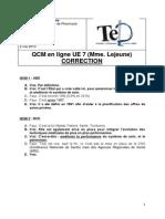 QCM en Ligne UE7 Lejeune Correction