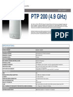 Cambium Networks PTP 200 (4.9 GHz) Specification