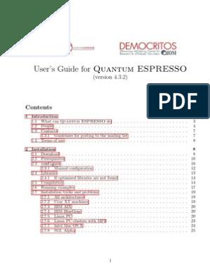 User Guide QESPRESSO | Internet Forum | 64 Bit Computing