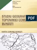 Studiu Geografic Al Toponimiei Comunei Bunesti