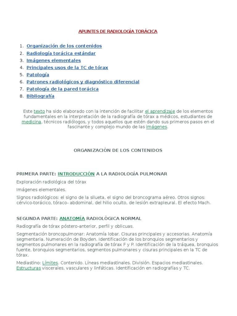 APUNTES DE RADIOLOGÍA TORÁCICA